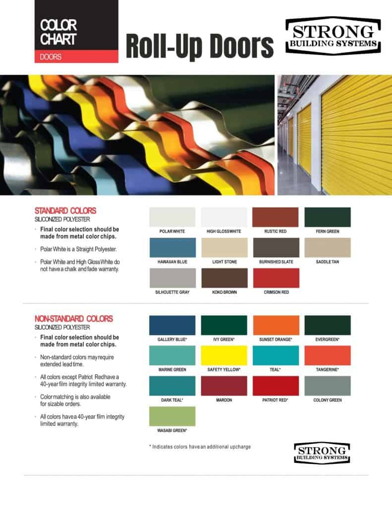 DCBI Roll-up door color chart